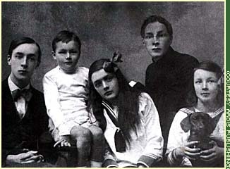 The Nabokov family fled Russia in 1919 after the Bolshevik revolution led to instability at home. This photo, taken less than six months before they were to leave Russia, shows the five Nabokov children: from left, Vladimir, Kirill, Olga, Sergei and Elena.