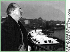Nabokov on his Montreux balcony